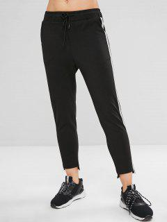 Striped Side High Low Drawstring Pants - Black M