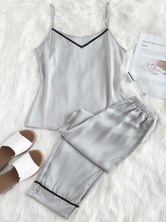 Satin Cami Top Und Hose Pyjama Set - Platin Xl