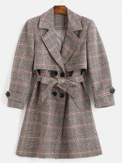 Belted Plaid Lapel Coat - Multi M