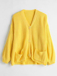Front Pocket Button Up Cardigan - Yellow