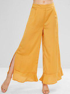 Flounce Slit Wide Leg Palazzo Pants - Orange Gold L