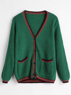 Front Pockets Cricket Cardigan - Medium Sea Green