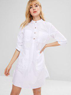 Pocket Side Slit Shirt Dress - White S