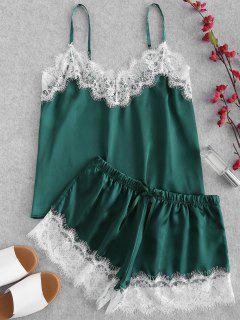 Conjunto De Pijama Lustroso Satinado Con Encaje De Pestañas - Verde Oscuro S