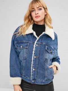 Button Up Jean Sheepskin Jacket - Denim Dark Blue