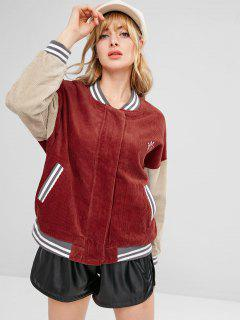 Embroidered Striped Color Block Corduroy Jacket - Cherry Red L