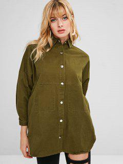 Embroidered Oversized Tunic Shirt Jacket - Army Green S