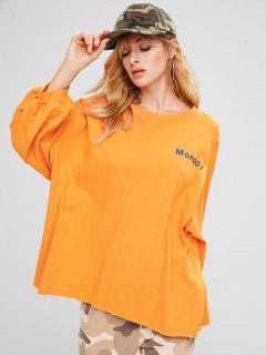 Drop Shoulder Letter Loose Sweatshirt - Bright Yellow
