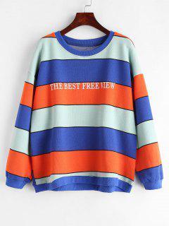 Striped Letter Drop Shoulder Sweatshirt - Multi
