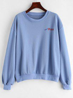 Pizza Drop Shoulder Sweatshirt - Sky Blue