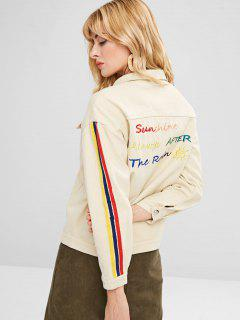 Single Breasted Letter Embroidery Denim Jacket - Blanched Almond