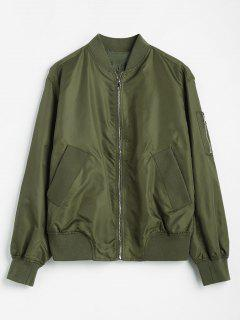 Zipper Bomber Jacket With Arm Pockets - Army Green S