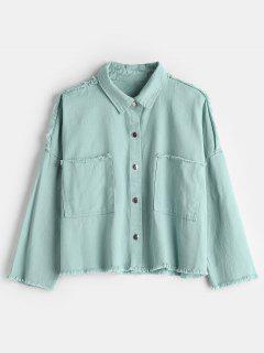 Frayed Boxy Shacket Denim Jacket - Medium Turquoise