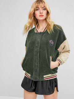 Embroidered Striped Color Block Corduroy Jacket - Fern Green S