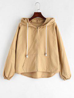 High Low Hem Kangaroo Pocket Hooded Jacket - Tan