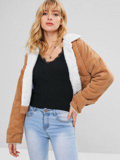 Fleece Drop Shoulder Corduroy Jacket - Light Brown S
