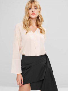 Button Up Flare Ärmel Crinkle Bluse - Sakura Rosa L