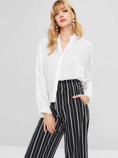 Blusa Holgada Con Cuello En V - Blanco M