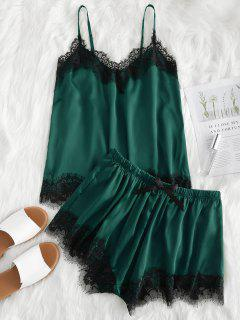 Contrast Lace Cami Satin Top And Shorts Pajama Set - Deep Green L