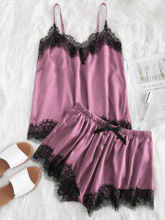 Contrast Lace Cami Satin Top And Shorts Pajama Set - Lipstick Pink M
