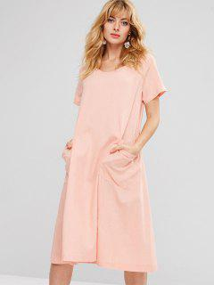 Patch Pockets Woven Midi Dress - Pink L