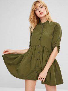 Solid Color Button Up Dress - Army Green M
