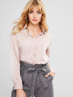 Front Pockets Oversized Shirt - Sakura Pink L