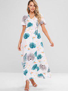 Empire Waist Split Sleeve Wrap Dress - Multi S