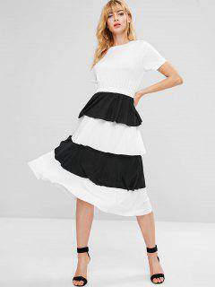 Ruffles Tiered Midi Dress - White M