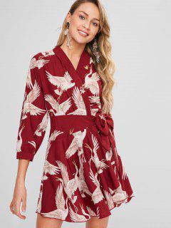 Birds Print Wrap Dress - Firebrick M