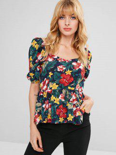 ZAFUL Peplum Blusa Floral - Multicolor S