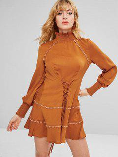 ZAFUL Lace-up Long Sleeve Flounce Dress - Light Brown L