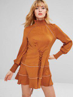 ZAFUL Lace-up Long Sleeve Flounce Dress - Light Brown Xl