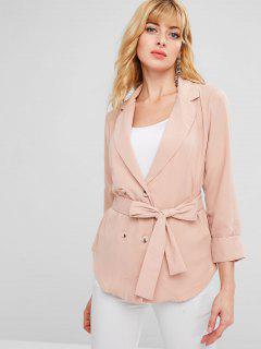 ZAFUL Belted Single Breasted Blazer - Orange Pink L