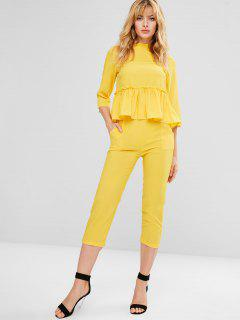 Ruffle Hem Top Chino Pants Co Ord Set - Yellow L