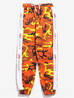 Side Letter Striped Camo Jogger Pants - Orange M