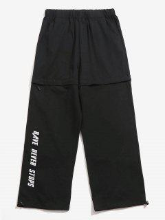 Casual Letter Waistband Zipper Pants - Black M