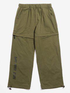 Pantalones De Cremallera De Cintura Carta Casual - Ejercito Verde 4xl