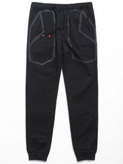 Drawstring Waist Printed Jogger Pants - Black M