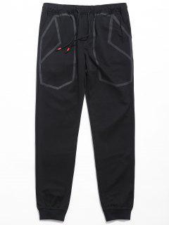 Drawstring Waist Printed Jogger Pants - Black Xl