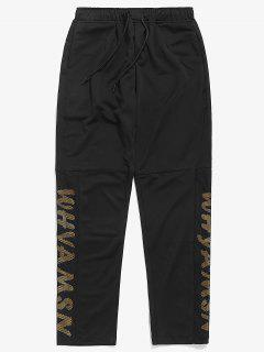 Drawstring Waist Letter Print Pants - Black Xl