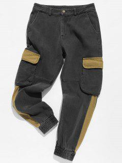Contrast Elastic Cuff Cargo Pants - Cookie Brown L
