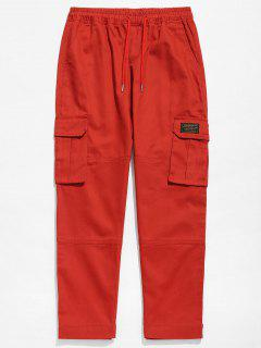 Solid Hem Velcro Cargo Pants - Chestnut Red L