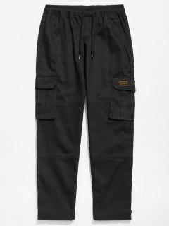 Solid Hem Velcro Cargo Pants - Black L