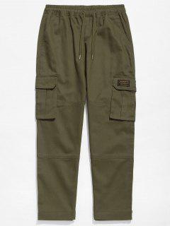 Solid Hem Velcro Cargo Pants - Army Green M