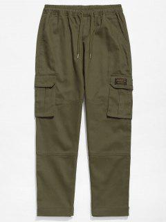Solid Hem Velcro Cargo Pants - Army Green Xl