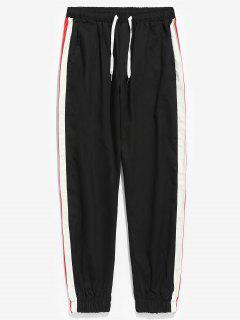 Pantalones De Jogging De Patchwork A Rayas Laterales - Negro M