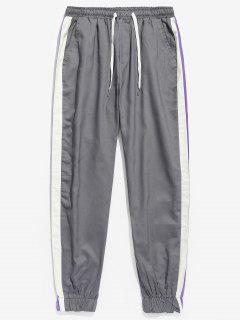 Side Striped Patchwork Jogger Pants - Cloudy Gray L