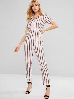 ZAFUL Pockets Striped Shirt Jumpsuit - Chestnut Red L