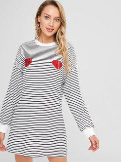 ZAFUL Heart Sequined Striped Mini Dress - Multi S